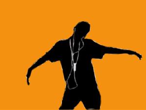 音楽を聴く男性の絵②