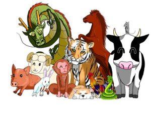 12匹の動物のイラスト